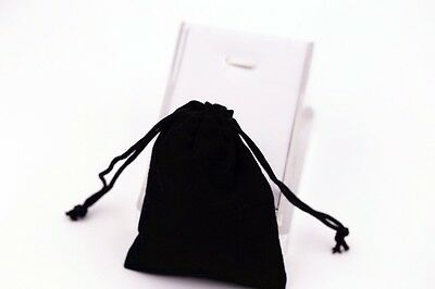 20 Black Velvet Drawstring  Jewellery Pouches Bag 9cm x 7cm Aussie Stock