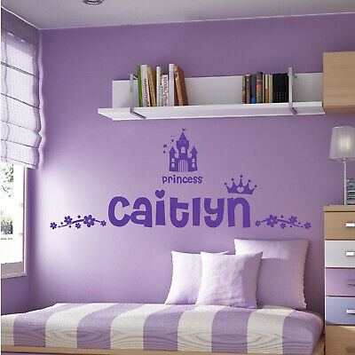 Personalised Name Girls Wall Art Sticker - Princess Castle Crown Floral Motive