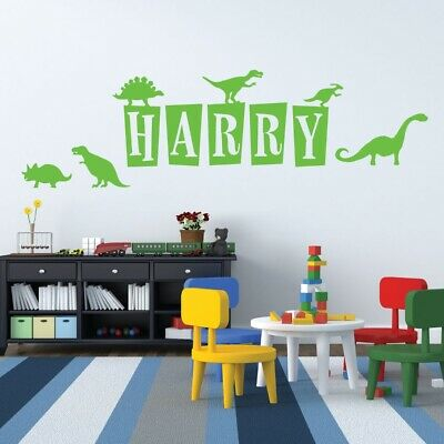 Personalised Name Wall Art Sticker - Dinosaurs, Dinos, T-Rex, Apatosaurus, Juras