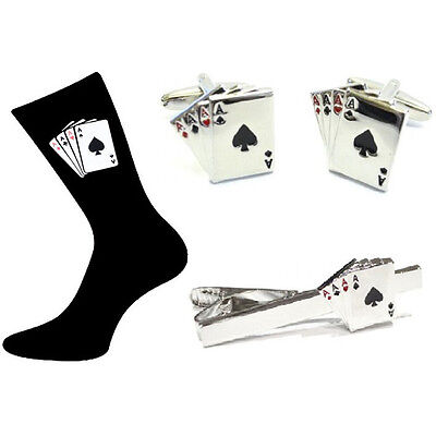 Four Aces Cufflinks+Tie Clip+Mens Socks Set. Playing Cards Casino Novelty XGS014