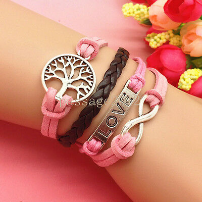 NEW DIY Infinity LOVE Tree pink Leather Cute Charm Bracelet plated Silver A99