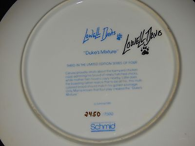 "SIGNED by Lowell Davis ""Duke's Mixture"" SCHMID 1981 Collectible Plate Chicken"