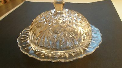 VINTAGE CRYSTAL BUTTER CHEESE DIP DISH  DOME LID PINEAPPLE PATTERN SCALLOPED