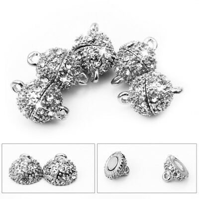5 X Silver Round Ball Rhinestone Magnetic Clasp Findings 10mm Jewelry Making