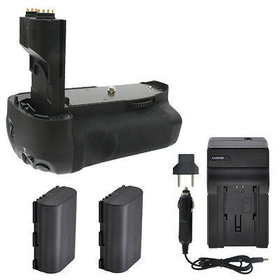 BG-E7 Battery Grip + 2 LP-E6 Battery Packs + Charger For Canon 7D Camera