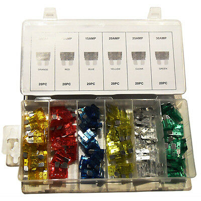 120 PCS CAR FUSE ASSORTMENT Set 6 Sizes 5-30 AMP Auto Parts Standard Blade Fuse