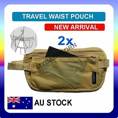 2x Travel Waist Pouch for Passport Money Belt Bag Hidden Security Wallet NEW