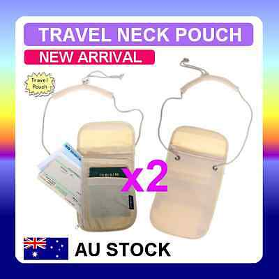 2x Travel Secure Passport Neck Pouch Card Ticket Money Secret Wallet Holster Bag