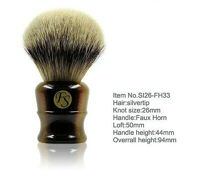 "Frank Shaving""FS""-Faux Horn 100% Silvertip Badger Brush 26mm knot+ FREE STAND"