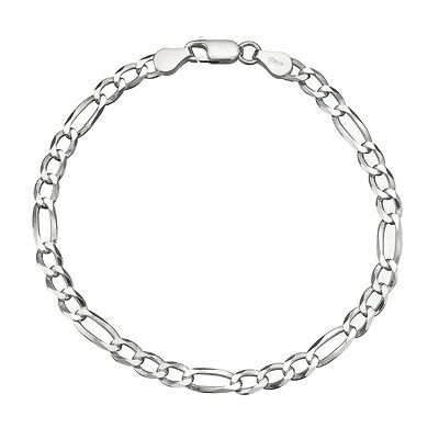 Solid 925 Sterling Silver Men's Italian 5mm Figaro Link Chain Bracelet ALL SIZES