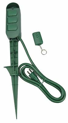 Remote Power Stake,Number of Outlets 3,Max. Amps 15,Voltage 125,Noryl,Green