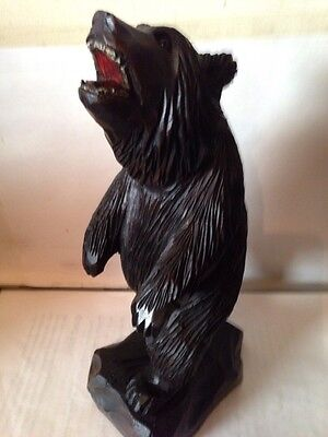 "Large  10"" Hand Carved Black Forest Standing Bear With Glass Eyes"
