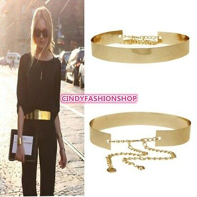 Women Full Metal Mirror Waist Belt Metallic Gold Plate Wide Obi Band With Chains