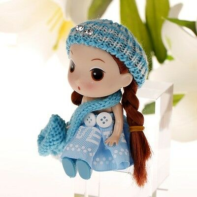 Blue Hat Korea Ddung Doll Cell Phone Backpack Keychain Girls Baby Gift 12CM A17