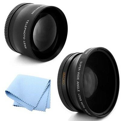 52mm 2X Telephoto and .45x Wide Angle Lens HD for Nikon D610 SLR Camera
