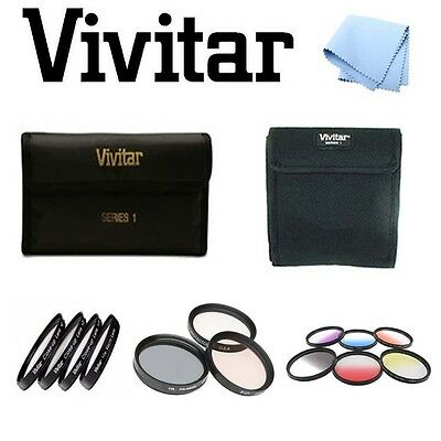 58mm Vivitar Graduated Color/Close Up/UV CPL FLD Filters For Canon 20D 10D T1I