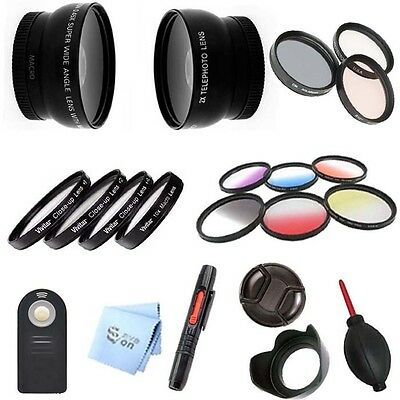 52mm 2X Telephoto & .45x Wide Angle Lens/Filter Set for Nikon D3000 D3100 D3200