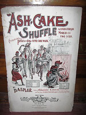 """1899 BLACK STEREOTYPE RAGTIME SHEET MUSIC """"ASH-CAKE SHUFFLE"""" BY D A EPLER"""
