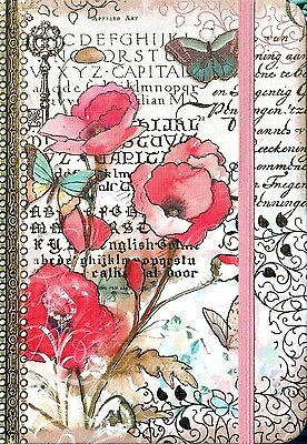pUNCH STUDIO Hardcover Bungee Closure Journal - Pink Floral Calligraphy 97643