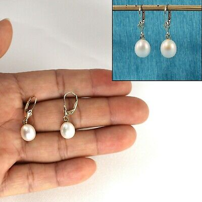 14k Yellow Solid Gold Leverback Genuine White Cultured Pearl Dangle Earrings TPJ