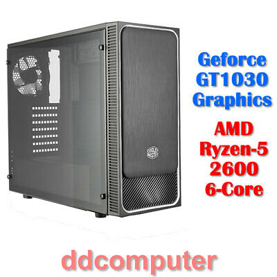 AMD Ryzen 5 2600 6-Core Computer 8GB DDR4 1TB HDD nVidia GTX1030 HDMI Desktop PC