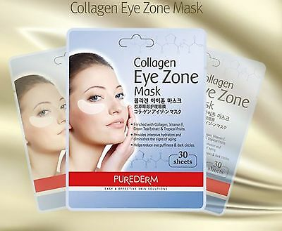 Purederm collagen eye zone mask,eye puffiness and dark circles,1pack(30 sheets)