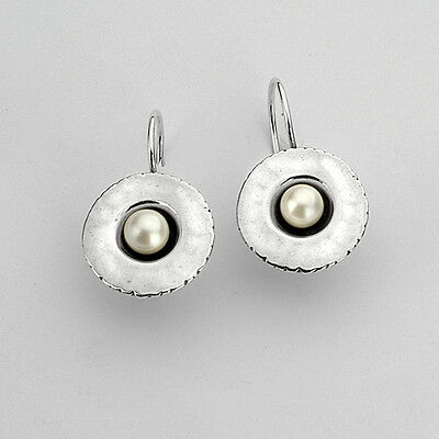 E00010SP SHABLOOL ISRAEL Didae Handcrafted FW Pearl Sterling Silver 925 Earrings