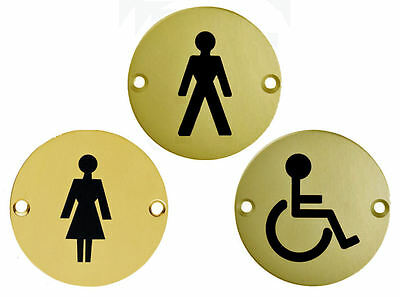 "Toilet Door Signs MALE FEMALE or DISABLED Sign 3"" Polished Brass Symbol + Screws"