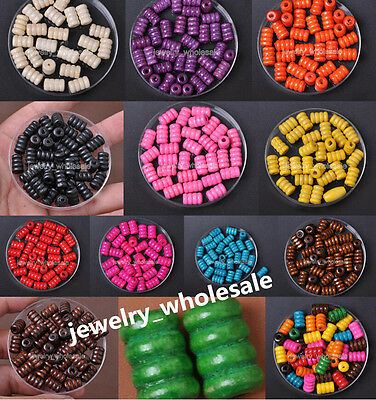Wholesale 40pcs 100pcs Wood Fluted Tube Loose Spacer Charm Beads 12X7.5MM
