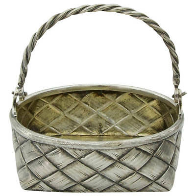Antique Russian Silver Braided Wicker Basket, circa 1896-1907