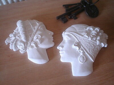 One Pair Of Art Deco Resin Wall Faces / Plaques ~ White In Colour ~