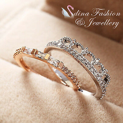 18K White & Rose Gold Plated Simulated Diamond Unique Silver & Gold Ring Set