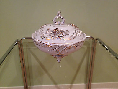 VON SCHIERHOLZ FOOTED BOWL WITH LID, CREAM AND GOLD   *** PRICED TO SELL ***