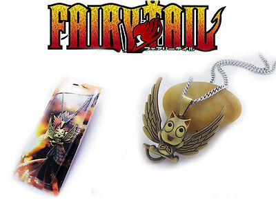 1X Anime Fairy Tail Happy Cosplay Props Metal Pendant Necklace Loose Pack