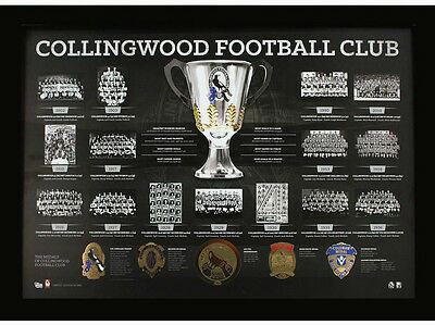 Afl Collingwood Magpies Premiership History Print Listed Brownlow Premier Years