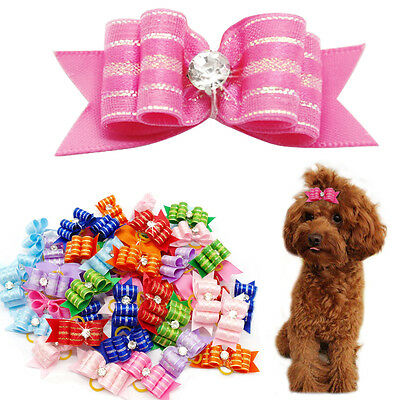 50/100pcs Pet Cat Dog Hair Bows Grooming Accessories with Bling Diamond Yorkie