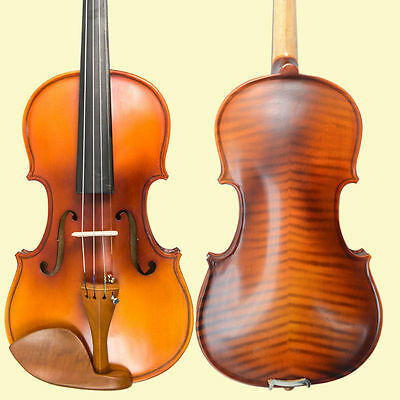 """Solid Wood 4/4 Full Size Natural Acoustic Violin Fiddle +Case Bow Rosin """"Flamed"""""""