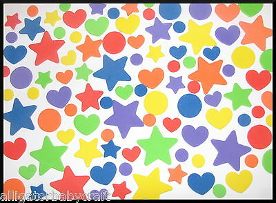 """102 Foam Heart Star Circle Stickers Shapes 1/2"""" to 1"""" ABCraft 6 Sheets Rainbow"""