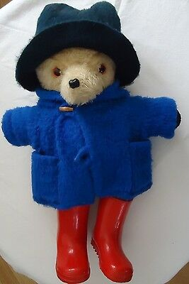 VINTAGE HAND MADE OLD LOVED STRAW FILLED TEDDY BEAR  DRESSED AS PADDINGTON 50CM