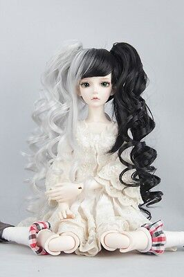 """BJD Doll Hair Wig 8-9"""" 1/3 SD DZ DOD LUTS Sliver and Black with ponytails"""
