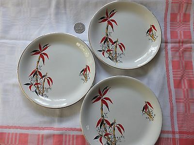 Three Bamboo pattern BARRATTS Delphatic Ware side PLATES