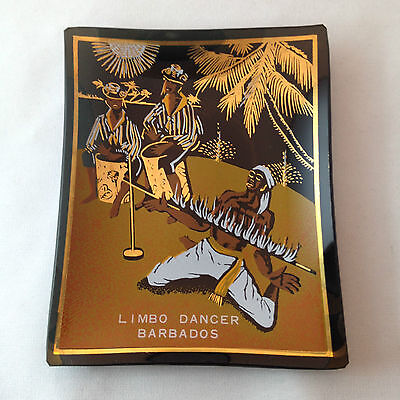 Mid-Century Barbados Limbo Dancer Glass Souvenir Tray / Ashtray Houze Caribbean
