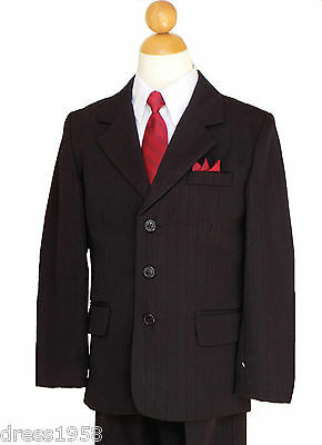 BOY PINSTRIPES RECITAL, GRADUATION FORMAL SUIT SET, BLACK/WHITE, Sz: 5 to 20