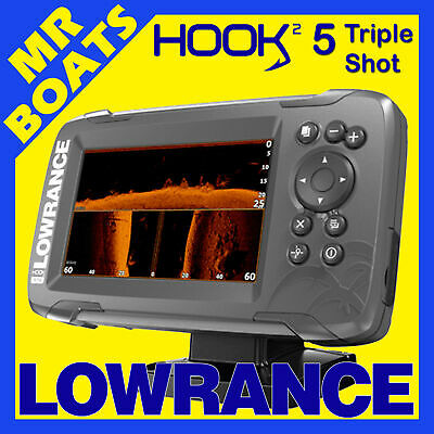 LOWRANCE HOOK2 5 TripleShot FISHFINDER CHARTPLOTTER Sidescan Downscan Chirp