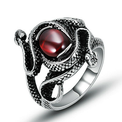 Wholesale Lot 4Pcs Stainless Steel Women Red Cubic Zirconia Snake Rings Jewelry