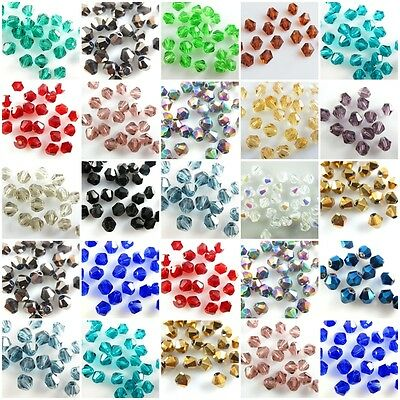 Assorted Colors 300Pcs Faceted Bicone Crystal Glass Beads Spacer Findings 4mm
