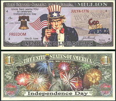 Lot of 100 BILLS-JULY 4TH, INDEPENDENCE DAY MILLION DOLLAR NOVELTY BILL