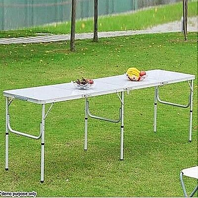 Outdoor XLarge Portable Folding Aluminium Camping BBQ Garden Picnic Table 240x60