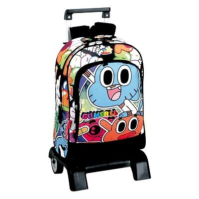 Backpack with Cart Amazing Gumball School Bag with trolley 42x32x14 cm