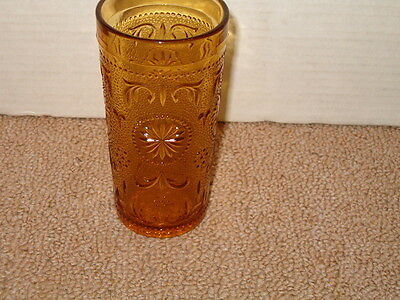"""VINTAGE BROCKWAY GLASS AMERICAN CONCORD PATTERN AMBER  5 1/2"""" DRINKING GLASS"""